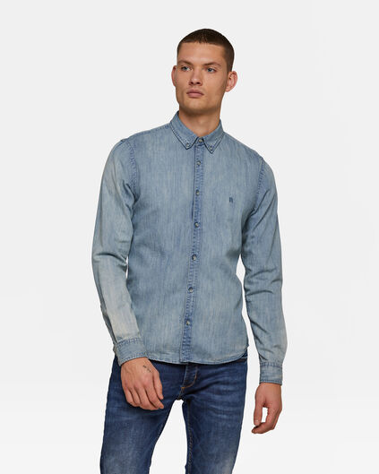 Heren Slim FIt denim overhemd Blauw