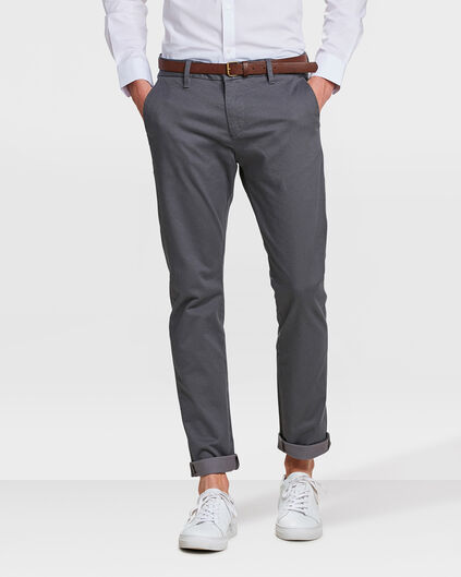 HEREN SKINNY FIT PRINT CHINO Grijs