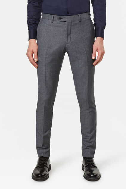 Heren Slim fit pantalon met pied-de-poule dessin Messina Donkergrijs