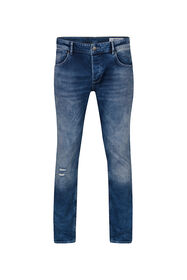 Heren slim tapered comfort stretch jeans_Heren slim tapered comfort stretch jeans, Blauw
