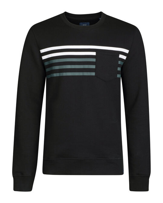 HEREN STRIPE DETAIL SWEATER Zwart