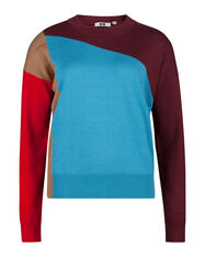 DAMES COLOURBLOCK TRUI_DAMES COLOURBLOCK TRUI, Bordeauxrood