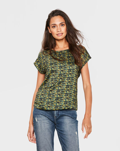 DAMES ARMY PRINT TOP Mosterdgeel