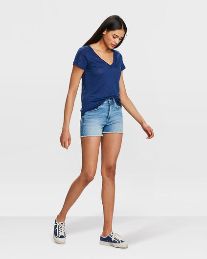 DAMES HIGH RISE SLIM FIT DENIM SHORT Blauw