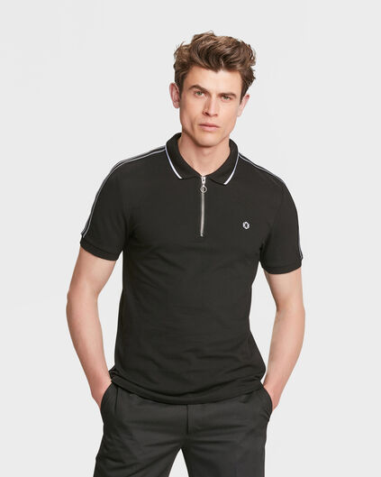 HEREN SPORTY STRIPE POLOSHIRT Zwart