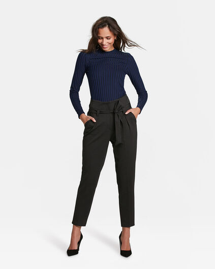 DAMES SLIM FIT STIPPEN PANTALON Zwart