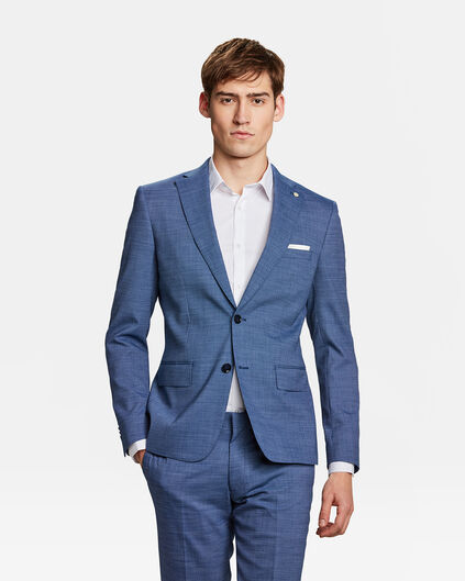 Heren slim fit blazer Plano Blauw