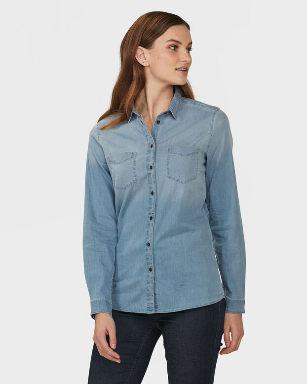 DAMES BLUE RIDGE DENIM BLOUSE IJsblauw