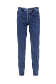 Dames high waist straight leg jeans_Dames high waist straight leg jeans, Donkerblauw