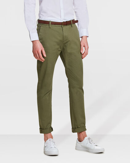 HEREN SKINNY FIT CHINO Olijfgroen