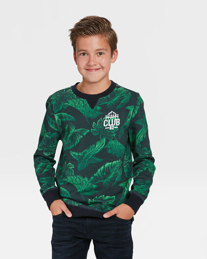 JONGENS HIKING CLUB PRINT SWEATER Groen
