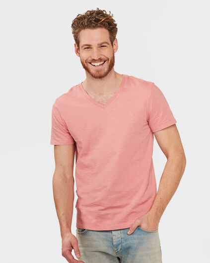 HEREN ORGANIC COTTON  V-NECK T-SHIRT Roze