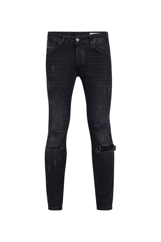 Heren skinny tapered comfort stretch jeans Zwart