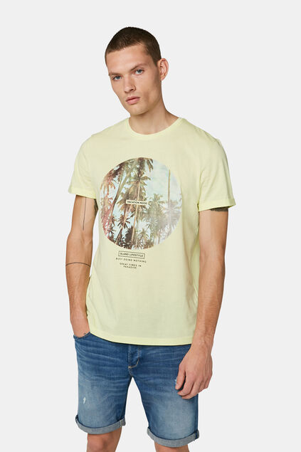 Heren vacation print T-shirt Lichtgeel