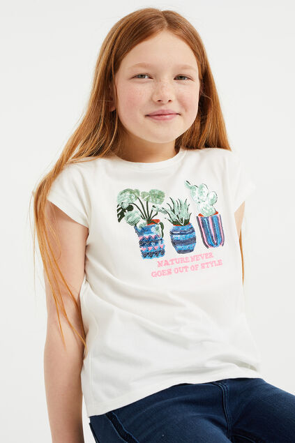 Meisjes T-shirt met pailletten applicatie Wit