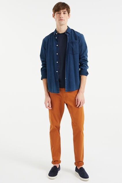Heren uni slim fit chino Roestbruin