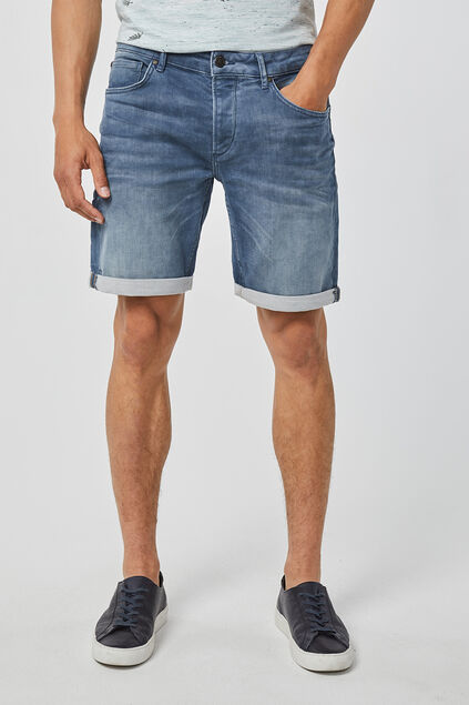 Heren regular fit jog denim short Blauw