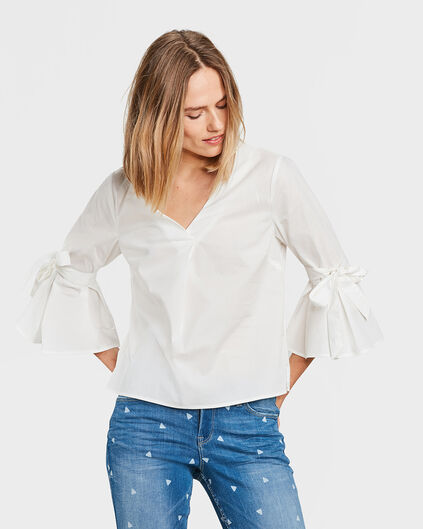 DAMES STRIK DETAIL BLOUSE Gebroken wit
