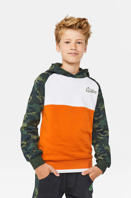 Jongens colourblock capuchonsweater Wit