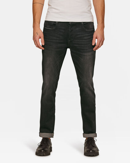 Heren slim tapered jog denim jeans Zwart