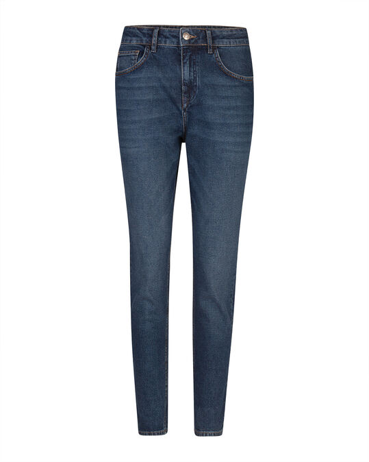 DAMES HIGH RISE TAPERED GIRLFRIEND COMFORT STRETCH JEANS Blauw