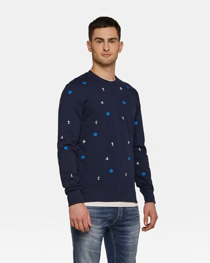 Heren dessin sweater Marineblauw