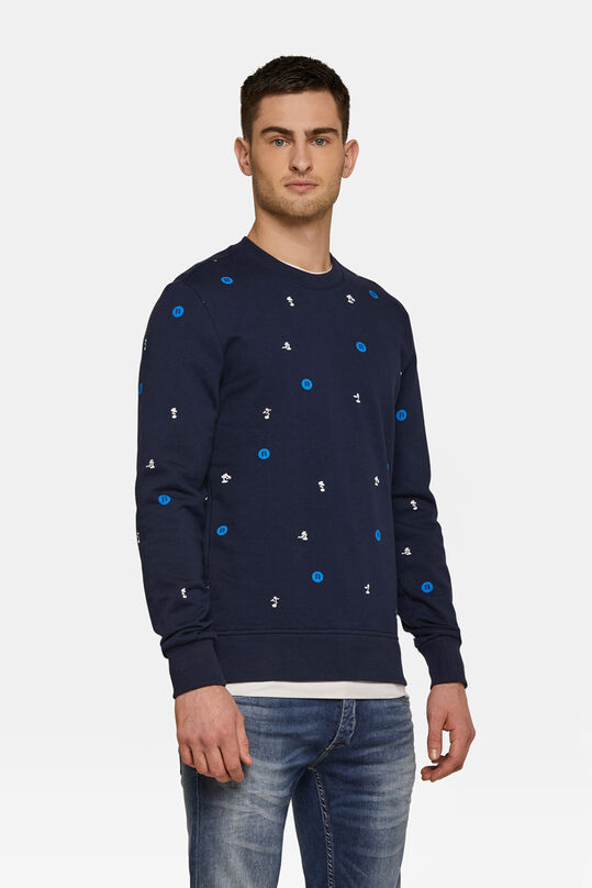 Heren logoprint sweater Marineblauw
