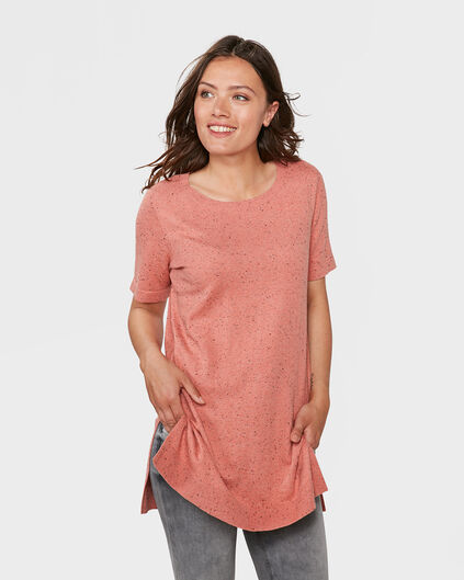 DAMES NEPPY STRUCTUUR R-NECK TOP Zalmroze