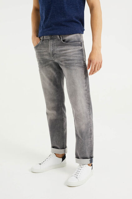 Heren regular fit jog denim jeans met vintage wassing Lichtgrijs