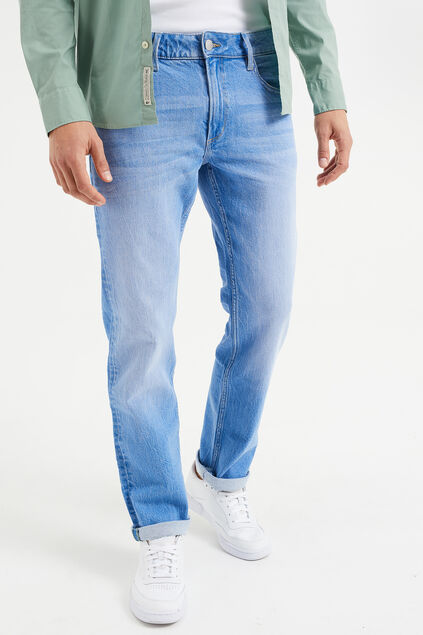 Heren regular fit jeans met comfort stretch Blauw