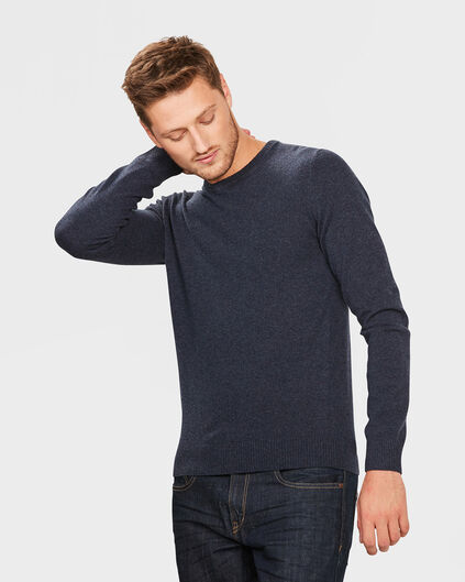HEREN R-NECK LAMBSWOOL BLEND TRUI Donkerblauw