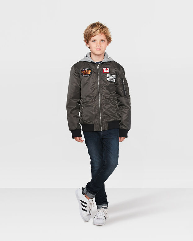 JONGENS PATCHES BOMBER JACKET Groen