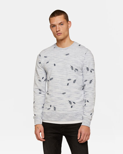 Heren dessin sweater Wit
