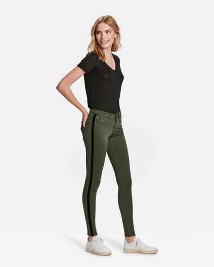 DAMES MID RISE SUPER SKINNY HIGH STRETCH VELVET STRIPE JEANS Legergroen