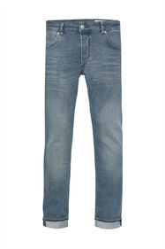 Heren slim fit jeans met wassing_Heren slim fit jeans met wassing, Grijsblauw