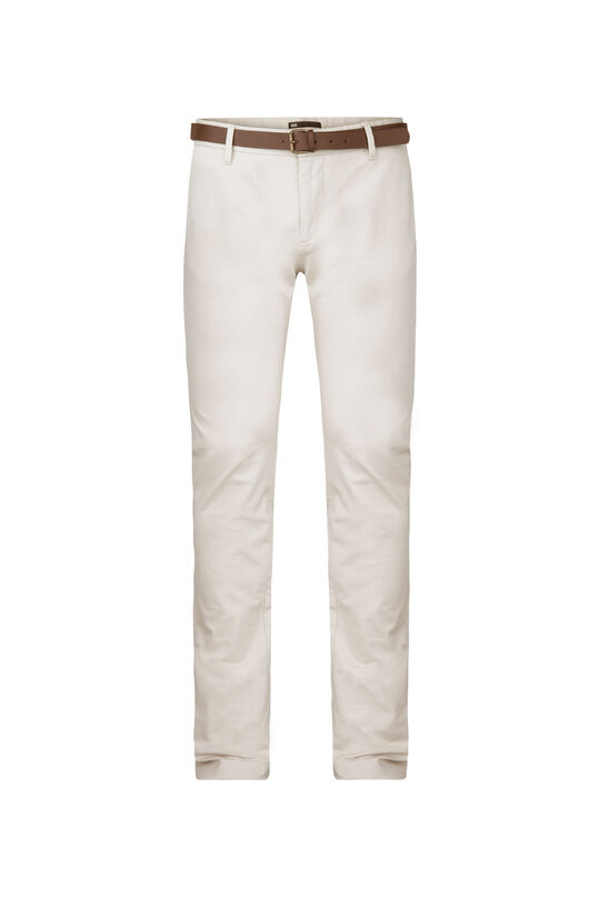 Heren skinny fit effen chino Gebroken wit