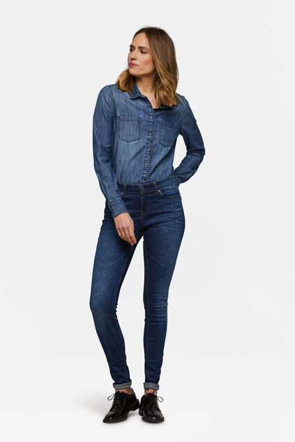 Dames mid rise super skinny super stretch jeans Donkerblauw