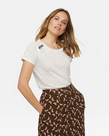 Dames knoopdetail T-shirt Wit