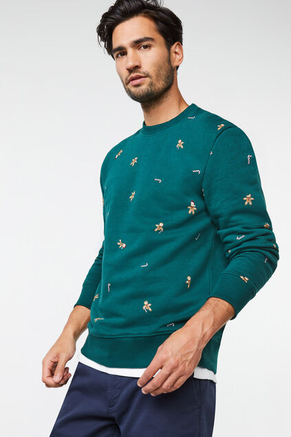 Heren sweater met dessin Groen