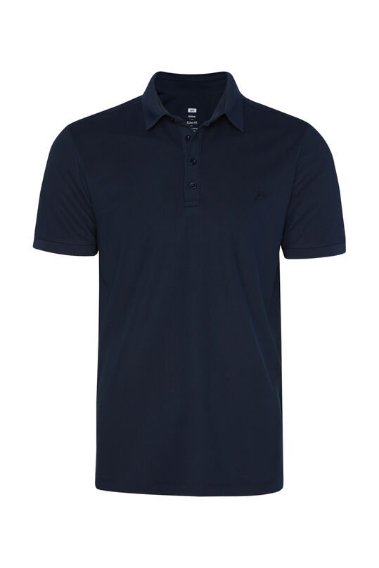Heren hybrid slim fit polo met coolmax-technologie® Donkerblauw