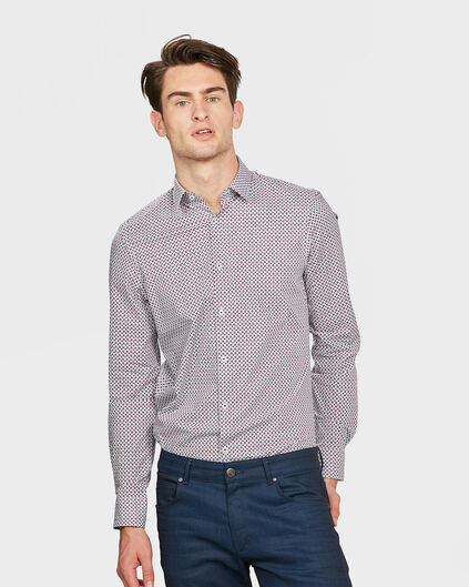 HEREN SLIM FIT STRETCH DESSIN OVERHEMD Bordeauxrood