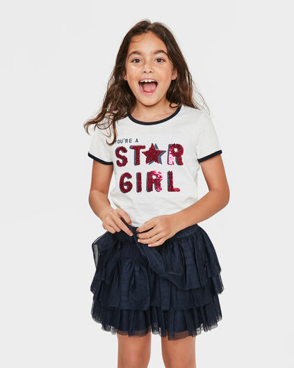 MEISJES STAR GIRL FLIP SEQUINS T-SHIRT Wit