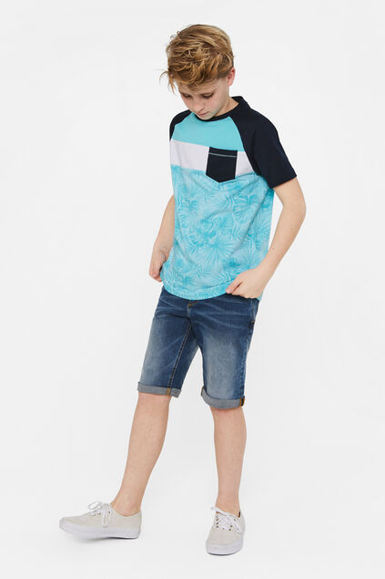 Jongens T-shirt met colourblock Felblauw