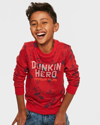 JONGENS HERO PRINT SWEATER Rood