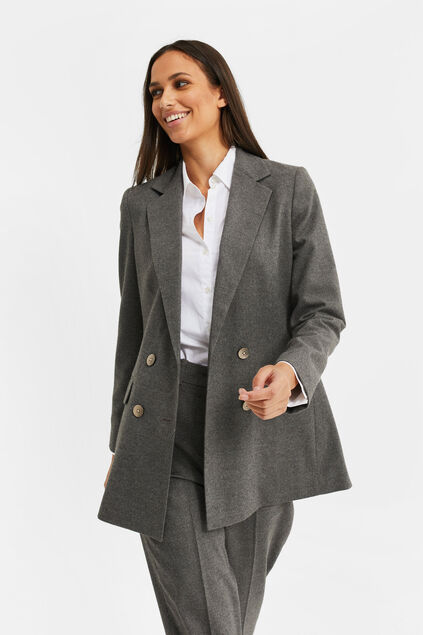 Dames loose fit double breasted blazer Donkergrijs