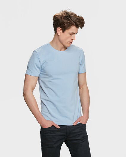 HEREN ORGANIC COTTON T-SHIRT IJsblauw