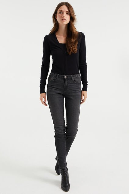 Dames mid rise skinny jeans met stretch Donkergrijs