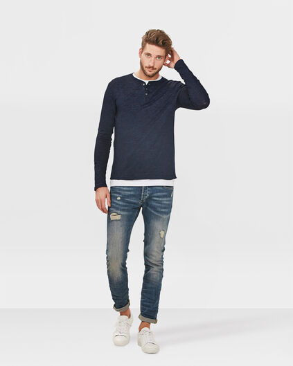 HEREN SKINNY TAPERED REPAIRED SUPER STRETCH JEANS Lichtblauw