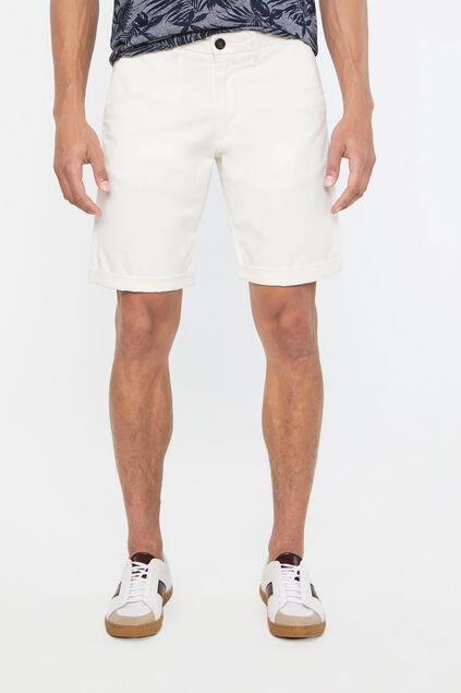 Heren slim fit chinoshort met stretch Ecru