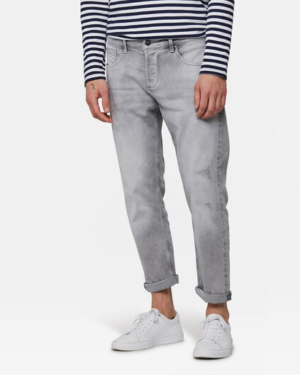 Heren relaxed cropped tapered comfort stretch jeans Lichtgrijs